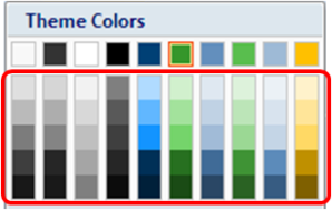 color selection pane with variations