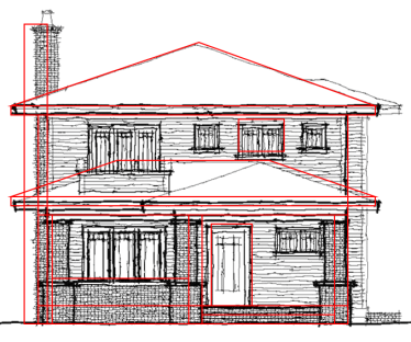 You Can See The Red Shapes Over Gray Original Drawing House Outline Porch Posts And Roof Have Been Simplified