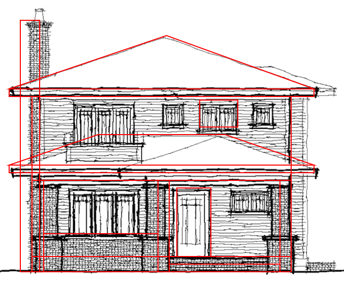 You Can See The Red Shapes Over The Gray Original Drawing; The House  Outline, Porch Posts And The Porch Roof Have Been Simplified.